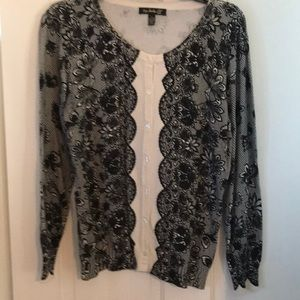 Sweaters - Top knits cream and black lace print cardigan